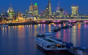 Picture night, bridge, lights, river, England, London, Cathedral