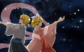 Picture night, anime, art, two, Vocaloid, Vocaloid, characters