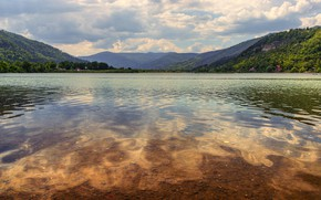 Picture forest, mountains, shore, home, pond