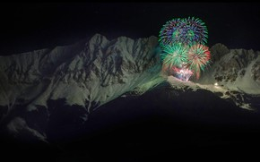 Wallpaper New Year, Alps, mountains, Austria, Inculcate, fireworks, salute