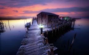 Picture night, bridge, lake