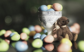 Picture toy, eggs, candy, Easter, bear, pills, Teddy bear