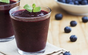 Picture berries, blueberries, glasses, mint, smoothies