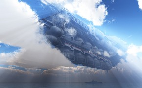 Picture the sky, clouds, ship, energy ring, the next nanosecond it was there