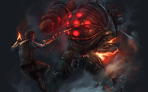 Picture fire, shot, monster, big daddy, Bioshock