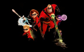 Picture fiction, cartoon, black background, Pixar, poster, characters, Walt Disney, Incredibles 2, The incredibles 2