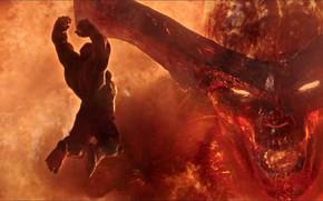 Picture demon, fire, battle, horns, Hulk, Marvel, fight, hero, hulk, Marvel Comics, 2017, Thor 3: Ragnarok, …