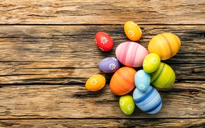 Picture colorful, Easter, happy, wood, spring, Easter, eggs, holiday, the painted eggs