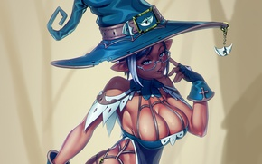 Picture erotic, chest, girl, hat, Tits, ears, dark elf