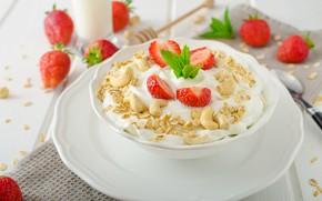 Picture berries, Breakfast, strawberry, plate, nuts, yogurt, oatmeal