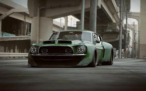 Picture asphalt, overpass, car, front, L.T.O GT500