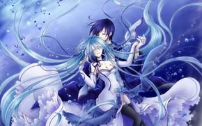 Picture romance, pair, guy, Vocaloid, Vocaloid, Hatsune Miku, Kaito