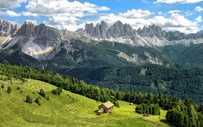 Picture greens, forest, the sky, grass, clouds, trees, mountains, rocks, slope, Alps, Italy, Bressanone