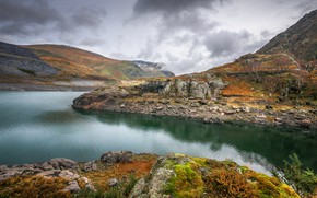 Picture autumn, lake, Wales, Snowdonia, Llyn Peris
