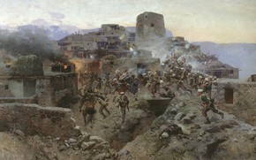 Picture oil, Canvas, 1891, The storming of aul Gimry, Franz ROUBAUD