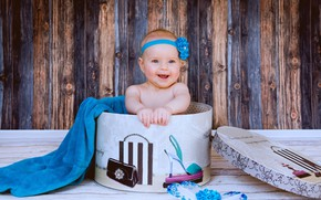 Picture smile, background, box, girl, baby, baby, fashionista
