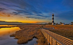 Picture clouds, lighthouse, island, glow, USA, North Carolina, The outer banks