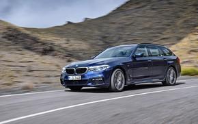 Picture road, asphalt, mountains, movement, vegetation, the slopes, BMW, universal, xDrive, Touring, 530d, 5, dark blue, …