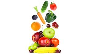 Picture cherry, apples, orange, cucumber, white background, pepper, fruit, banana, vegetables, tomatoes, carrots, garnet, drain