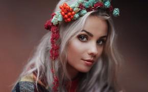 Picture look, face, portrait, Veronica, wreath, Anastasia Volkova