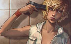 Picture girl, gun, horror, Heather Mason, heather, silent hill 3