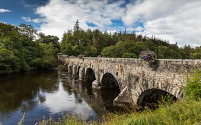 Picture forest, grass, clouds, trees, bridge, river, Ireland, Kerry, Beaufort