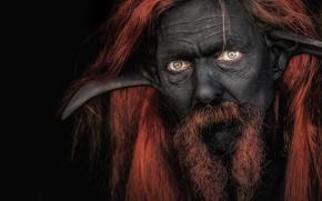 Wallpaper ears, Chudo-Yudo, black, cosplay, face, man, look, mustache