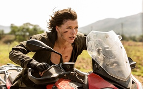 Wallpaper frame, motorcycle, Milla Jovovich, Milla Jovovich, Alice, Resident Evil: The Final Chapter, Resident evil: the ...