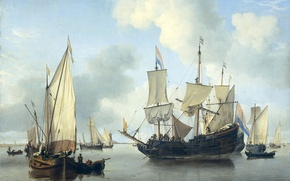 Wallpaper sail, Ships at Anchor off the Coast, seascape, Willem van de Velde the Younger, oil, ...