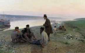 Picture river, oil, canvas, the elderly, Alexey KORIN, The haulers. 1897