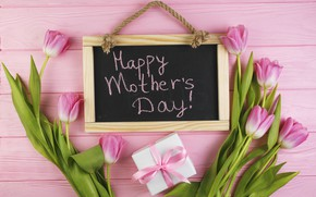 Picture flowers, gift, tulips, Board, pink, fresh, wood, pink, flowers, tulips, gift, spring, tender, mother's Day