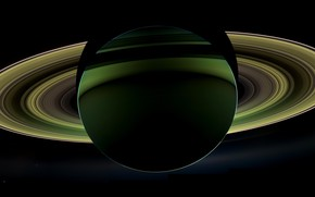 Picture view, Saturn, from the dark side