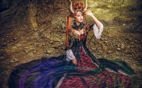 Wallpaper Asian, model, horns, dress, headdress, outfit, style, pose