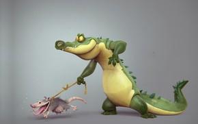 Wallpaper rendering, Borislav Kechashki, possum, rope, Back to the roots, walk, crocodile