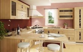 Wallpaper room, interior, kitchen