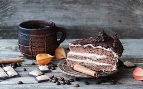 Picture coffee, the sweetness, cake, cinnamon, coffee beans