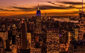 Picture night, lights, home, New York, panorama, USA