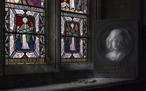 Picture girl, memory, portrait, window, stained glass, the plaque, H O N O R A, a ...