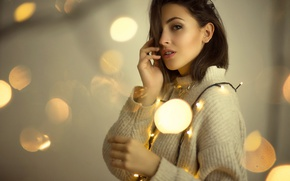 Picture white, look, girl, glare, portrait, lights, hands, makeup, brunette, hairstyle, beauty, garland, sweater, bokeh, Erika, ...