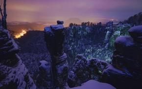 Picture winter, mountains, night, Germany, Germany, Saxon Switzerland, Saxon Switzerland, Elbe Sandstone mountains, Elbe Sandstone Mountains