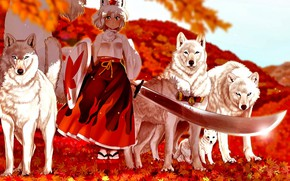 Picture sword, girl, wolves