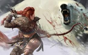 Picture girl, snow, blood, bow, Bear, arrow