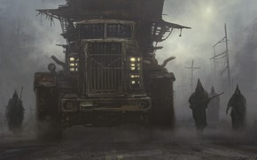 Picture road, fog, people, car, Post-apocalyptic inquisition