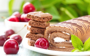 Picture Chocolate, Cherry, Sweets, Cherry, Food, Cakes, Roll