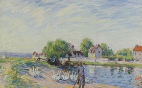 Picture animals, landscape, birds, house, picture, Alfred Sisley, Alfred Sisley, Geese in Saint-Mames