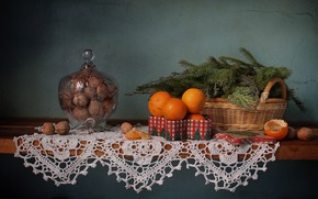 Picture tree, new year, Christmas, shelf, nuts, still life, tangerines, November