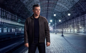 Wallpaper the platform, Matt Damon, photoshoot, for the film, railroad, station, Jason Bourne, Matt Damon, Nino ...