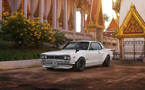 Picture Auto, White, Machine, Nissan, Temple, 1971, Nissan, Car, 2000, Skyline, Nissan Skyline, 2000GT, Japanese, 2000GT-R, …