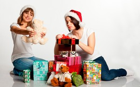 Picture joy, girls, mood, holiday, toys, two, new year, Christmas, jeans, gifts, white background, caps, on …
