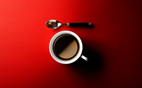 Picture coffee, spoon, Cup, red background